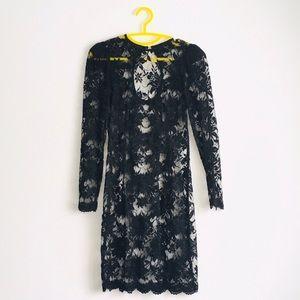 Black sheer flower lace dress